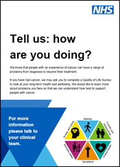 Thumbnail of 'Tell us: how are you doing?' poster, PDF linked