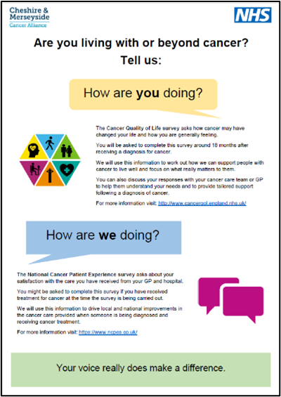 Thumbnail of 'Are you living with or beyond cancer?' poster, PDF linked
